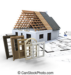 Home customization - A house under construction, with...