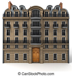French building rendering - 3D rendering of a typically...