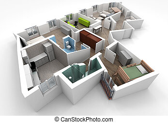 Home interior - 3D rendering of a roofless architecture...