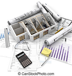 Home purchase process - A house on top of a table with...