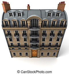 Aerial perspective of Parisian building - 3D rendering of a...