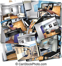 Home interiors collage - Collage with renderings of home...
