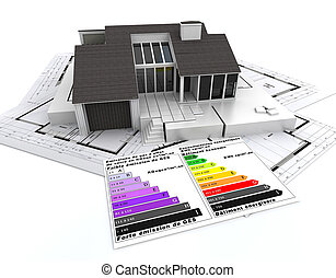 energy efficient architecture - 3D rendering of a house, on...