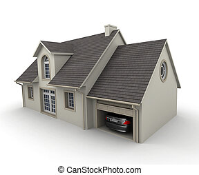 house with a garage - 3D rendering of a house on a white...