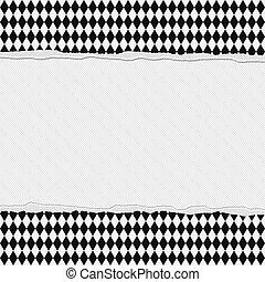 checkered, cornice, strappato, nero, fondo, bianco