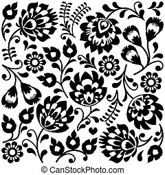 Polish folk art black pattern - Traditional monochrome...