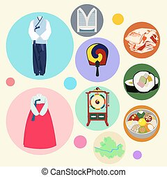 Korean traditional elements vector set. Drum clothes fan...