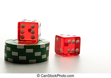 two Red dices and poker chips - red casino dices and poker...