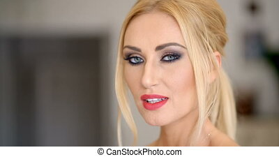 Pretty Face with Makeup of a Blond Woman - Close up Pretty...