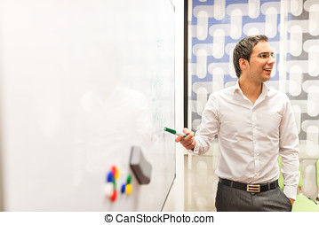 Businessman Discussing Plans at the White Board - Young...