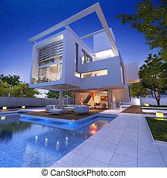 Impressive house close-up - External view of a contemporary...