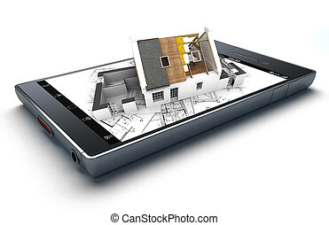 House insulation app - 3D rendering of a smart phone with a...