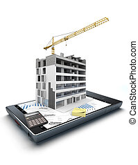 Home purchase app - 3D rendering of a smart phone with an...