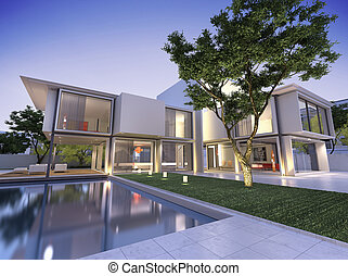 Nid villa - External view of a contemporary house with pool...