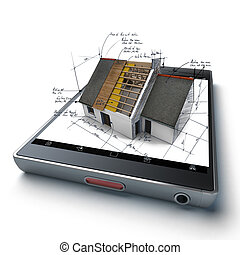 Home building app - House under construction with technical...