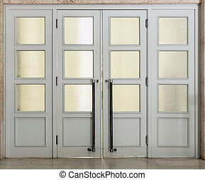 Gray quartered doors with glass panels