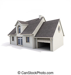 house on white background - 3D rendering of a house on a...