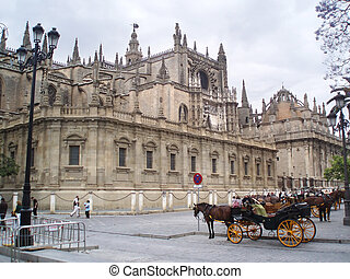 Cathedral in Sevilla - Mihty cathedral La Giralda,Sevilla in...