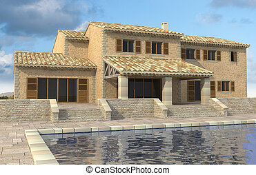Southern European house - 3D rendering of a magnificent...