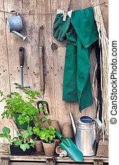 rústico, jardinería,