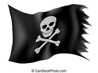 pirate flag vector illustration isolated on white background