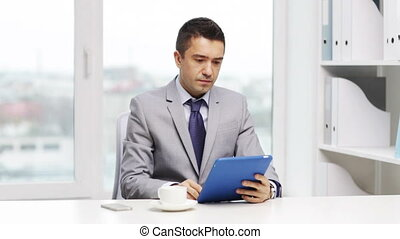 businessman with tablet pc calling on smartphone - business,...