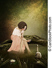 Forest idyll - The young girl sitting in a tree above the...