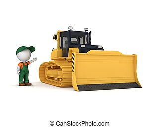 Yellow bulldozer - 3D rendered yellow bulldozer isolated on...