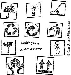 Handling & packing icon set with scratch or grungy rubber...