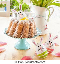 Sponge cake and easter eggs - Sponge cake in gugelhupf shape...