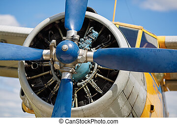Engine propeller - Propeller and aircraft engine closeup....
