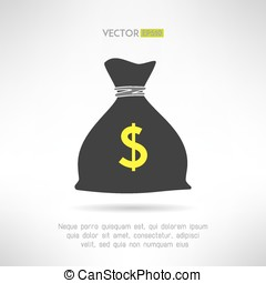 Simple money bag icon. Bank savings symbol concept. Vector illustration