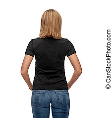 woman in blank black t-shirt