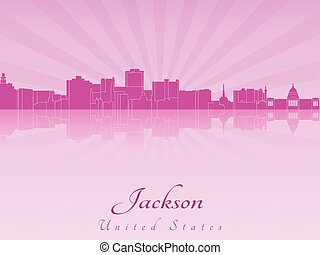 Jackson skyline in purple radiant orchid in editable vector...