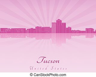 Tucson skyline in purple radiant orchid in editable vector...