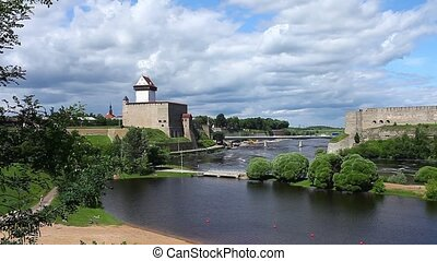 view of Narva and Ivangorod fortres - the border of Estonia...