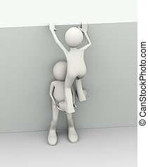 3d man helping person - 3d illustration of man helping...