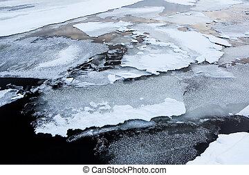 Thin ice at lake melting