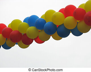 colorful celebration or birthday party balloons - Group of...
