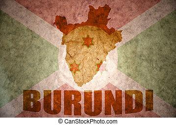 burundi vintage map - burundi map on a vintage burundi flag...