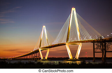 Arthur Ravenel Jr Bridge Illuminated in Evening over Cooper...