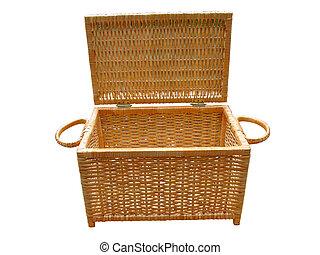 encima, aislado, cestería, madera, cesta, blanco, abierto