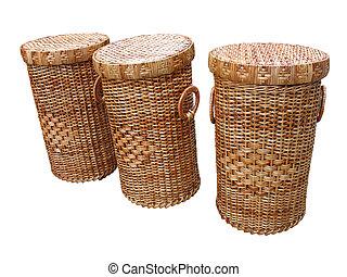 cestería, madera, cestas, aislado, encima, blanco