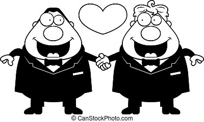 Cartoon Gay Marriage - A cartoon illustration of a gay...