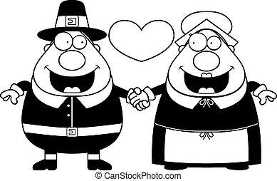 Cartoon Pilgrim Couple - A cartoon illustration of a Pilgrim...