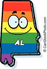 Cartoon Alabama Gay Marriage - A cartoon illustration of the...