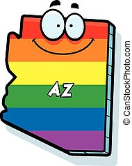 Cartoon Arizona Gay Marriage - A cartoon illustration of the...
