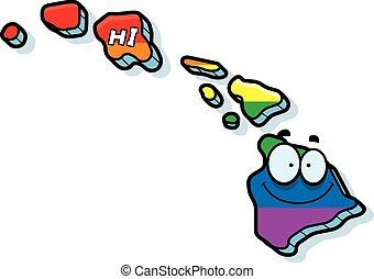 Cartoon Hawaii Gay Marriage - A cartoon illustration of the...