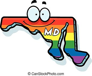 Cartoon Maryland Gay Marriage - A cartoon illustration of...