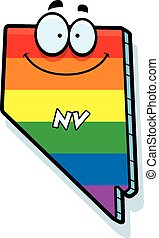 Cartoon Nevada Gay Marriage - A cartoon illustration of the...